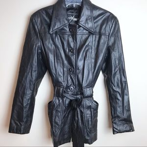 EUC Wilson's Maxima 100% Leather Belted Coat M